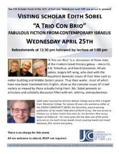 Israeli Lecture April 18 2